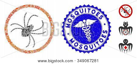 Pathogen Mosaic Spider Icon And Rounded Distressed Stamp Seal With Mosquitoes Text And Medicine Symb