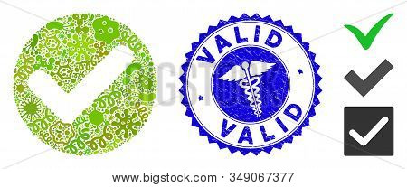 Pathogen Mosaic Valid Icon And Rounded Grunge Stamp Seal With Valid Caption And Healthcare Sign. Mos