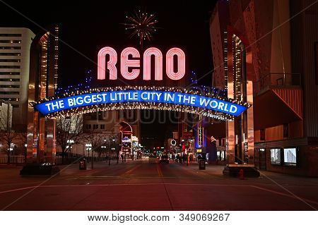 Reno, Nevada - January 18, 2020: Biggest Little City In The World Sign At Night.