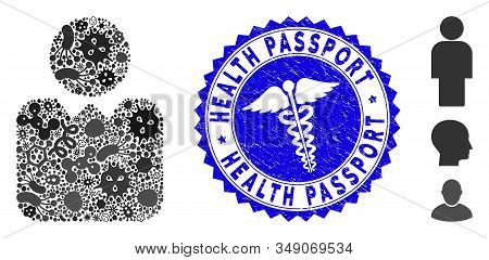 Contagious Mosaic Person Icon And Round Grunge Stamp Seal With Health Passport Text And Medical Icon