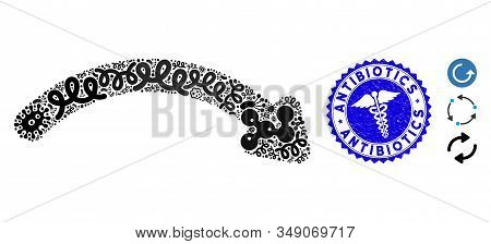 Epidemic Mosaic Redo Icon And Round Rubber Stamp Seal With Antibiotics Caption And Doctor Icon. Mosa