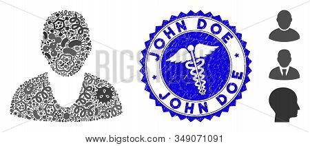 Epidemic Mosaic Client Icon And Round Rubber Stamp Seal With John Doe Phrase And Serpents Sign. Mosa