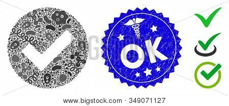 Virus Collage Ok Icon And Round Rubber Stamp Seal With Ok Caption And Doctor Icon. Mosaic Vector Is