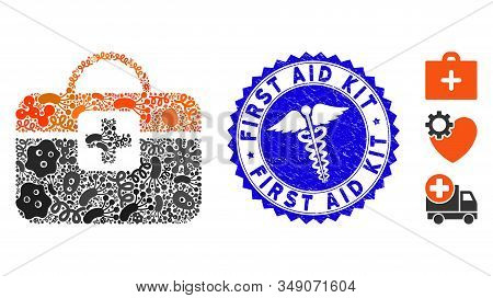 Infectious Mosaic Medical Kit Icon And Round Grunge Stamp Seal With First Aid Kit Caption And Doctor