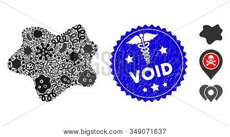 Microbe Mosaic Dirt Spot Icon And Round Rubber Stamp Seal With Void Caption And Serpents Icon. Mosai