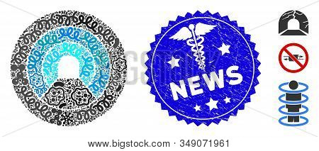 Pathogen Mosaic Pipe Tunnel Icon And Rounded Corroded Stamp Watermark With News Phrase And Healthcar