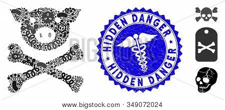 Infection Mosaic Pig Death Icon And Round Distressed Stamp Seal With Hidden Danger Phrase And Doctor