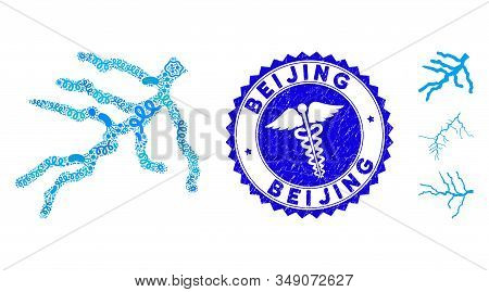 Microbe Mosaic River Icon And Rounded Distressed Stamp Watermark With Beijing Phrase And Medical Ico