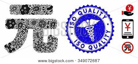 Viral Mosaic Yuan Renminbi Icon And Rounded Grunge Stamp Seal With Iso Quality Caption And Doctor Ic