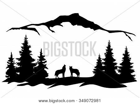 Vector Illustration Of A Mountain Landscape Background With Trees, Wolves Howling. Wilderness Landsc