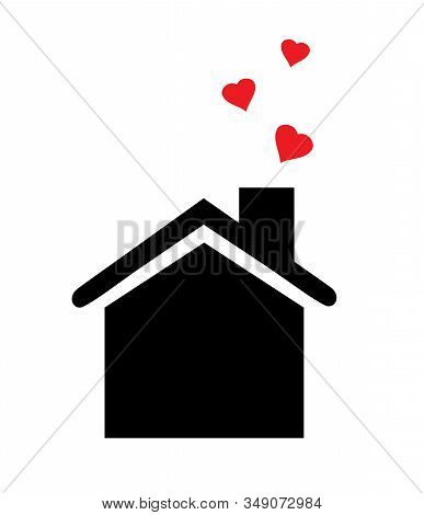 Vector Illustration Of A House Icon With A Hearts.
