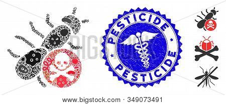 Microbe Mosaic Pesticide Icon And Round Distressed Stamp Seal With Pesticide Caption And Medic Sign.