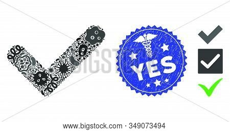 Contagion Mosaic Yes Icon And Round Rubber Stamp Seal With Yes Caption And Medicine Icon. Mosaic Vec