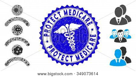 Biohazard Mosaic Man Queue Icon And Round Distressed Stamp Seal With Protect Medicare Text And Healt