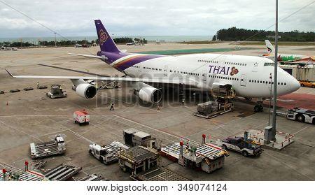 Phuket, Thailand - February 05, 2020: Boeing 747 - 400 Passenger Aircraft Of Thai Airways Is Being P