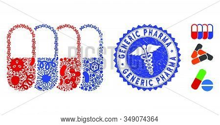 Contagion Mosaic Generic Pharma Icon And Round Distressed Stamp Watermark With Generic Pharma Phrase