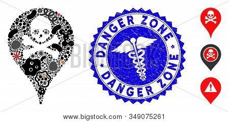 Outbreak Mosaic Danger Zone Map Marker Icon And Rounded Rubber Stamp Seal With Danger Zone Caption A