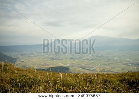Area Of Daikanbo Observatory. One Of Beautiful Landmark Viewpoint Of Aso With Green Grasses Of Beaut