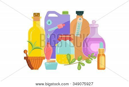 Naturopathy And System Of Alternative For Healthcare Elements. Herbs And Homeopathic Substances Bann