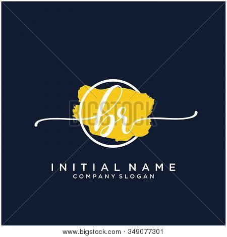 Br Initial Handwriting Logo Design With Brush Circle. Logo For Fashion,photography, Wedding, Beauty,
