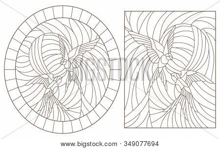 Set Contour Illustrations Of Stained Glass Birds,  A Pair Of Swallows In Sky On Background Of Sun, D