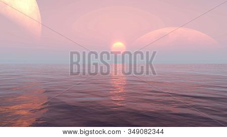Sunrise Of Sunset Sun Over The Sea Waves 3d Illustration, Calm And Relaxing Natural Background. Land