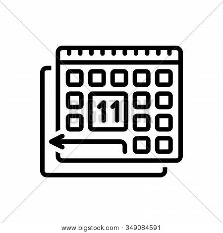 Black Line Icon For Pto Paid-time-off Policy Calendar  Regardful Deferent Appointment Please-turn-ov