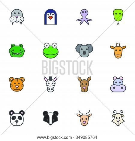 Zoo Animals Filled Outline Icons Set, Line Vector Symbol Collection, Animals Face Linear Colorful Pi