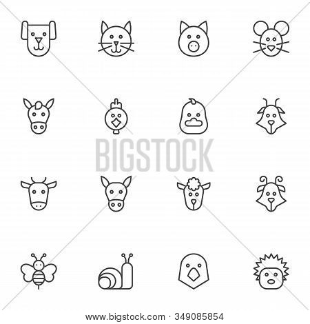 Farm Animals Line Icons Set. Linear Style Symbols Collection, Animals Heads Outline Signs Pack. Vect