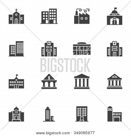 City Buildings Vector Icons Set, Modern Solid Symbol Collection, Filled Style Pictogram Pack. Signs,
