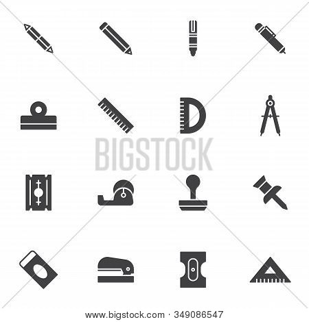Stationary Equipment Vector Icons Set, Modern Solid Symbol Collection, Office Tool Filled Style Pict