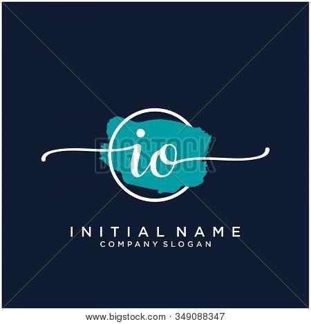 Io Initial Handwriting Logo Design With Brush Circle. Logo For Fashion,photography, Wedding, Beauty,