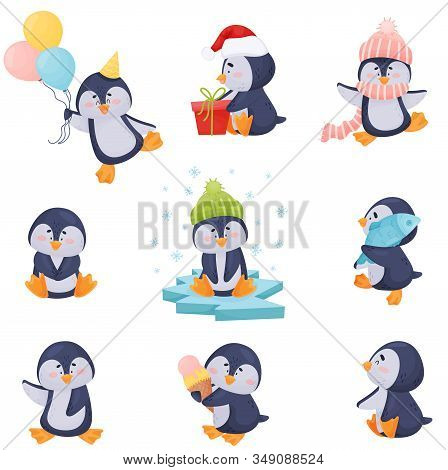 Penguin Character Enjoying Winter Season Vector Illustrations Set
