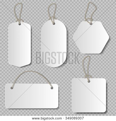 Realistic Price Tag. Cardboard Label, Paper Sale Tags Mockup Blank Labels Template Shopping Gift Emp