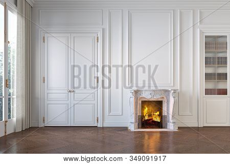 Classic White Empty Interior With Fireplace, Moldings, Wall Pannel, Window, Door. 3d Render Illustra