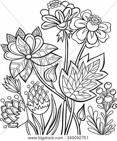 Book Coloring Page Flowers Nature Berries Graphic Outline Black And White Solid Isolate Illustration