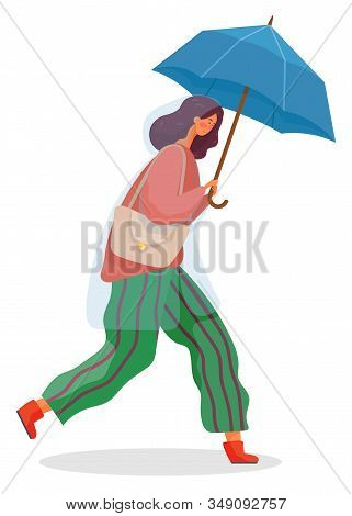 Young Woman Walking Under Rain. Person Dressed In Pants And Cardigan And Waterproof Cloth Like Rainc