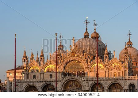 Beautiful Details Of Basilica Di San Marco In Venice, Italy. The Facade Of The Basilica Di San Marco
