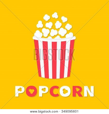 Popcorn Popping. Cinema Movie Night Icon. Big Size Strip Box Package. Pop Corn Food. Flat Design Sty