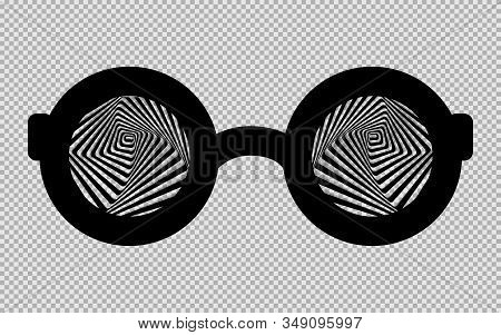 Black Hypnotic Glasses Isolated On A Transparent Background. Vector Illustration.