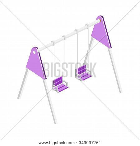 Empty Kids Swing Isometric Vector Illustration. Children Playground Object, Entertainment Complex At