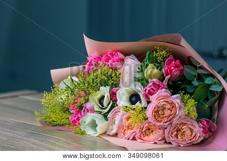Close-up Large Beautiful Bouquet Of Mixed Flowers. Flower Background And Wallpaper. Floral Shop Conc