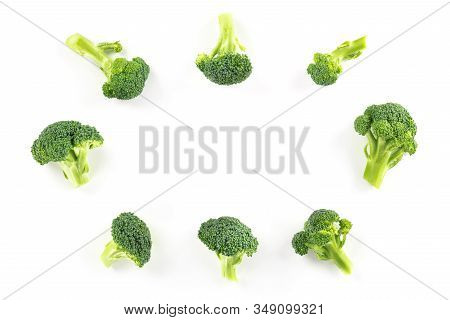Broccoli Florets, Shot From The Top On A White Background, Forming A Frame With A Place For Text