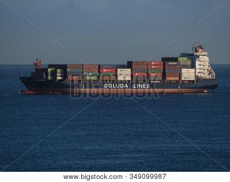 Los Cancajos, La Palma, Canary Islands, Spain, December 21, 2019: Containership Violeta B Of Boluda
