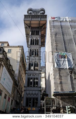 Lisbon, Portugal - January 17, 2020: The Historic Elevator Santa Justa Lift In Lisbon, Portugal (ele