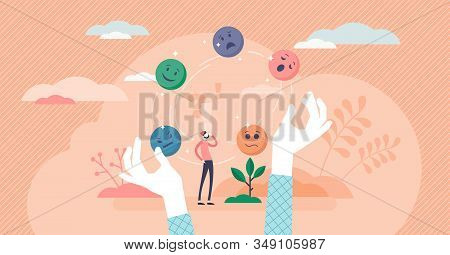 Juggling Emotions, Flat Tiny Persons Vector Illustration. Personal Traits And Self Awareness Emotion