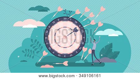 Practice And Goal Achievement Determination Concept, Flat Tiny Persons Vector Illustration. Personal
