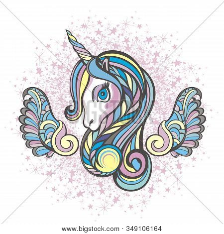 Beautiful Unicorn Head With Wings For Your Desin