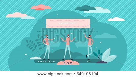 Ego, Super Ego And Id Psychological Conflict Concept, Flat Tiny Persons Vector Illustration. Mental