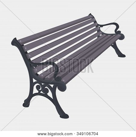Street Or Park Vector Handicraft Gray Wooden Bench With A Decorative Ornate Metal Legs And Armrests,